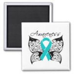 Tattoo Butterfly Awareness - Ovarian Cancer Square Magnet