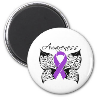 Tattoo Butterfly Awareness - Pancreatic Cancer 6 Cm Round Magnet