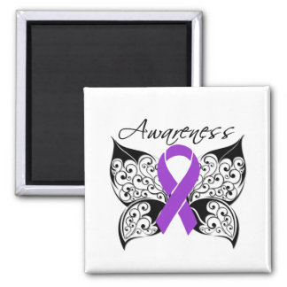 Tattoo Butterfly Awareness - Pancreatic Cancer Square Magnet