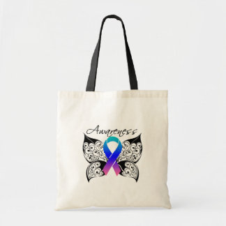 Tattoo Butterfly Awareness - Thyroid Cancer Budget Tote Bag