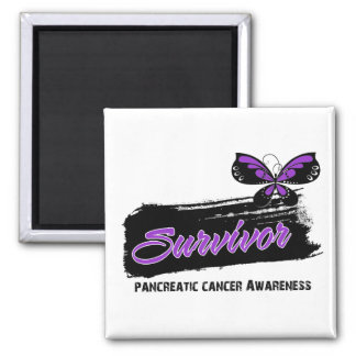 Tattoo Butterfly Pancreatic Cancer Survivor Square Magnet