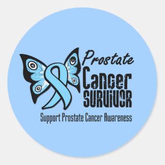 Tattoo Butterfly Prostate Cancer Survivor Round Sticker