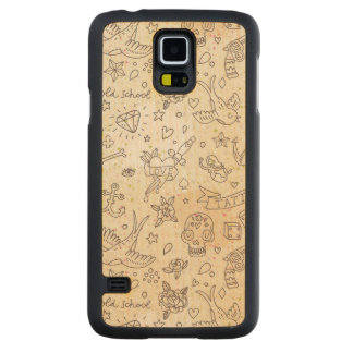 Tattoo concept pattern carved maple galaxy s5 case
