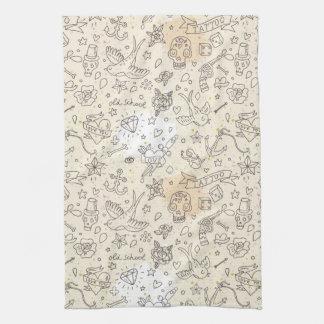 Tattoo concept pattern tea towel