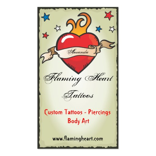 Tattoo Flaming Heart  Business Cards