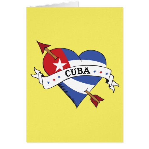 tattoo heart and arrow with cuban flag cards zazzle. Black Bedroom Furniture Sets. Home Design Ideas