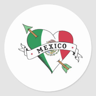 Tattoo Heart and Arrow with Mexican Flag Round Sticker
