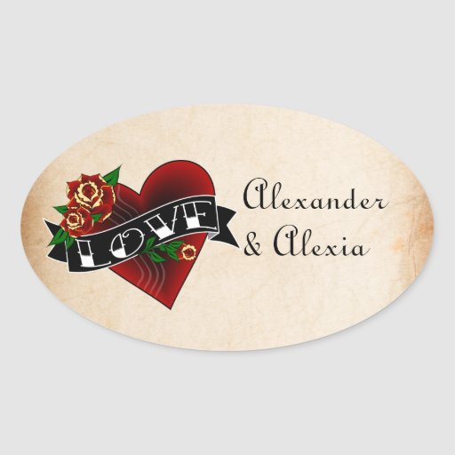 Tattoo Heart and Roses Custom Stickers