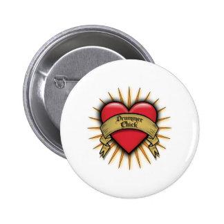 Tattoo Heart Drummer Chick 6 Cm Round Badge