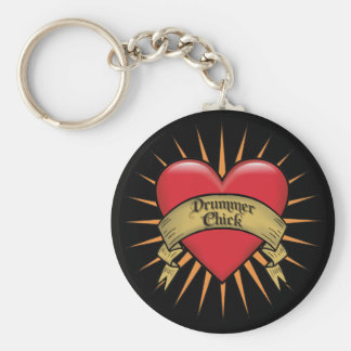 Tattoo Heart Drummer Chick Basic Round Button Key Ring