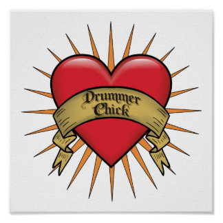 Tattoo Heart Drummer Chick Print