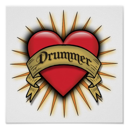 Tattoo Heart Drummer  Posters