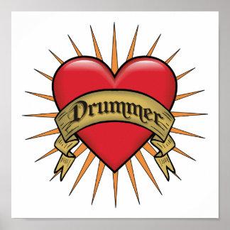 Tattoo Heart Drummer Poster