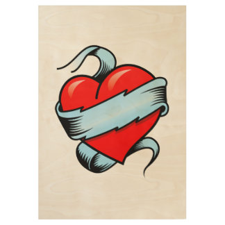 Tattoo Heart Wood Poster