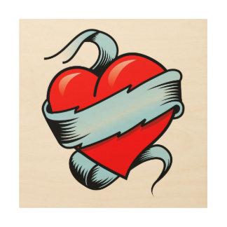 Tattoo Heart Wood Print