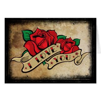 Tattoo I Love You Rose Valentine's Card
