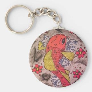 Tattoo Inspired Koi Fish Basic Round Button Key Ring