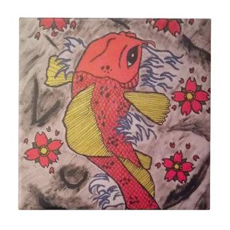 Tattoo Inspired Koi Fish Small Square Tile