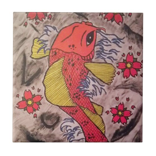Tattoo Inspired Koi Fish Small Square Tile