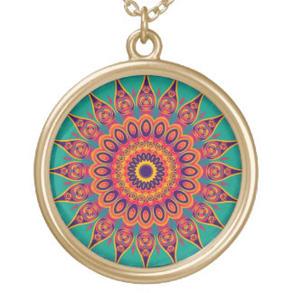 Tattoo Kaleidoscope Fractal Gold Plated Necklace