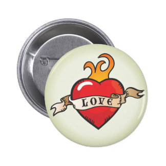 Tattoo Love Heart with flames and banner button