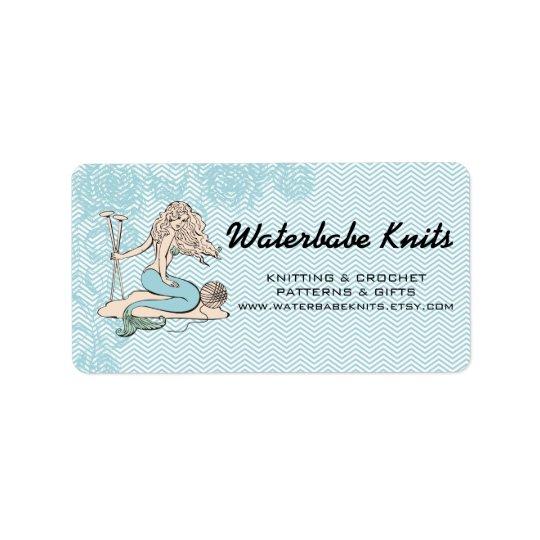 Tattoo mermaid  babe knitting needles yarn address label