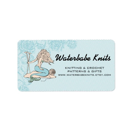 Tattoo mermaid  babe knitting needles yarn label