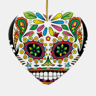 Tattoo Mexican Sugar Skull Black Rays Background Christmas Ornament