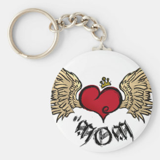 Tattoo MOM Urban Crowned Heart With Wings Basic Round Button Key Ring