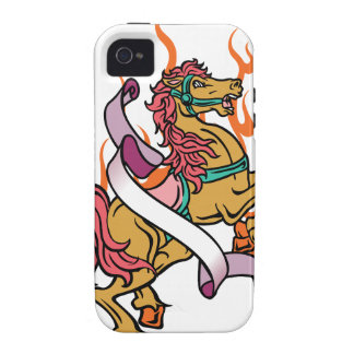 tattoo of Crazy Horse on orange flames iPhone 4/4S Covers