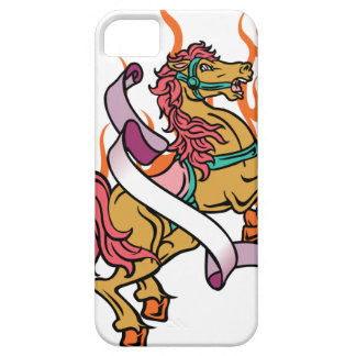 tattoo of Crazy Horse on orange flames iPhone 5 Cover