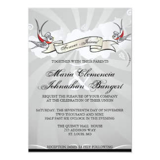 Tattoo Rockabilly Swallow Bird Wedding Invitation