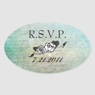 Tattoo Rose and Fluers RSVP Seals Oval Sticker