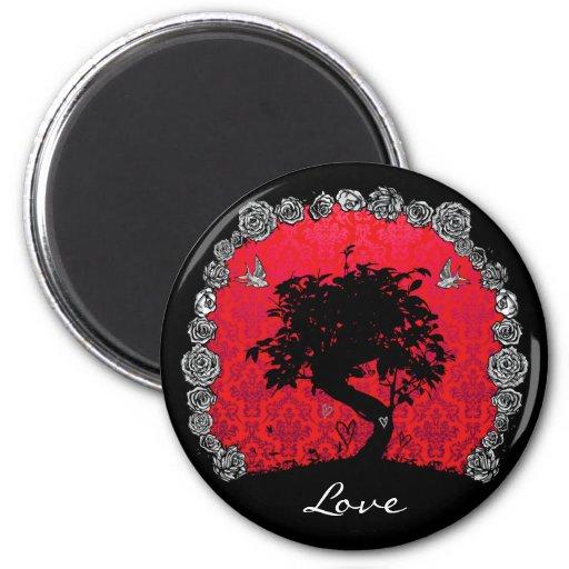 Tattoo Rose Bonsai Tree of Love Swallow Refrigerator Magnet