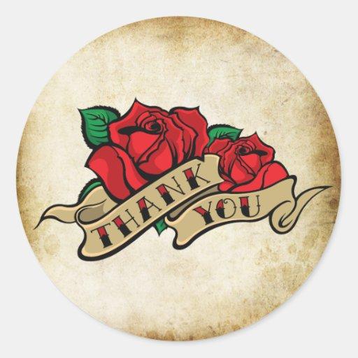 Tattoo Rose Rockabilly Urban Thank You Seals Round Sticker