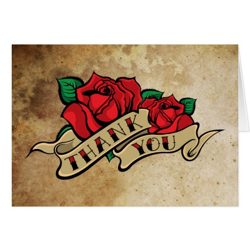 Tattoo Rose Thank You Card
