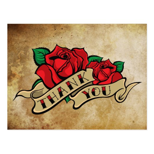 Tattoo Rose Thank You Post Card