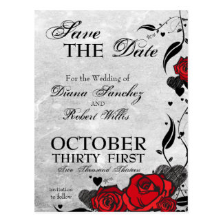 Tattoo Roses and Hearts Save the Date Post Cards