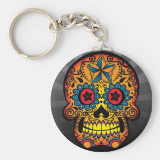 Tattoo Skull Basic Round Button Key Ring