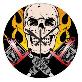 Tattoo Skull Large Clock