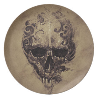 Tattoo Skull Over Vintage Paper Party Plates
