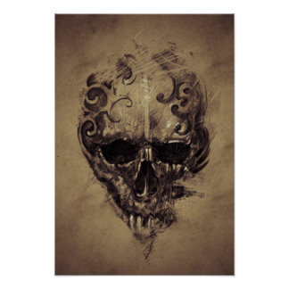 Tattoo Skull Over Vintage Paper Poster