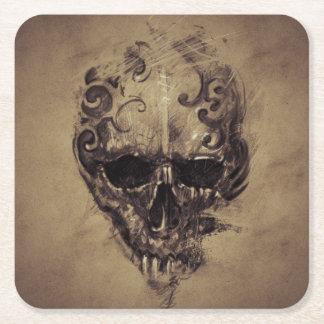 Tattoo Skull Over Vintage Paper Square Paper Coaster