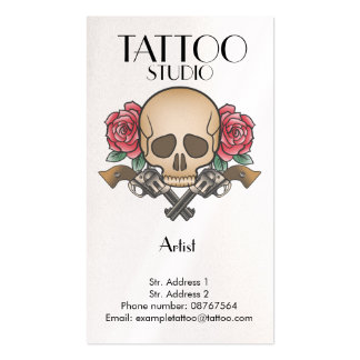 Tattoo studio old school skull design card pack of standard business cards