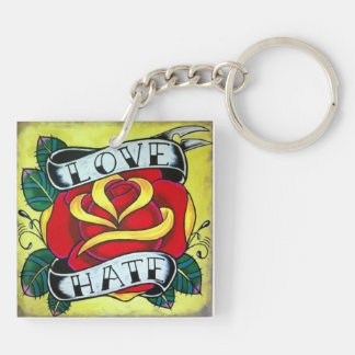 tattoo style design Double-Sided square acrylic key ring