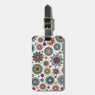 Tattoo Style Flower Doodle Pattern Bag Tag