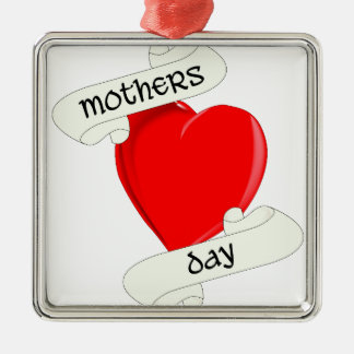 Tattoo Style Mothers Day Silver-Colored Square Decoration