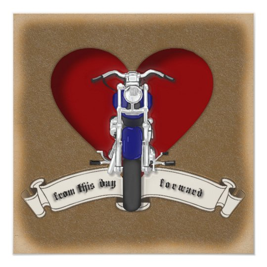 Tattoo Style Motorcycle & Heart Wedding Invitation