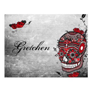 Tattoo Style Muerte Skull and Flourishes Name Card