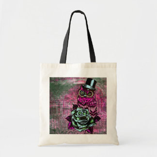Tattoo style owl with top hat in pink and green bags